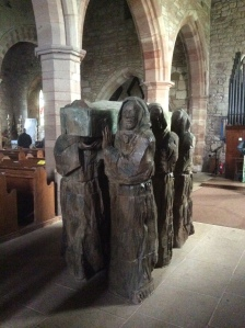 Carving of monks carrying St. Cuthbert to his final resting place